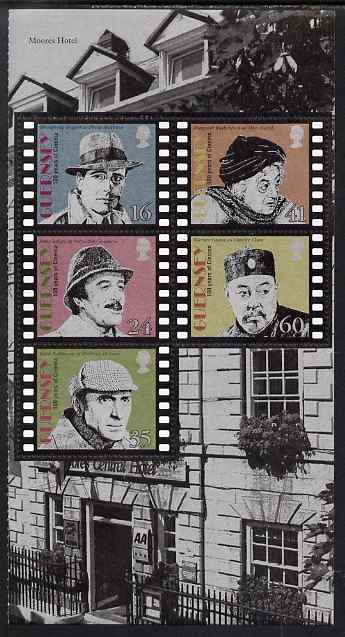 Guernsey 1996 Centenary of Cinema - Screen Detectives booklet pane of 5 unmounted mint, SG 711b