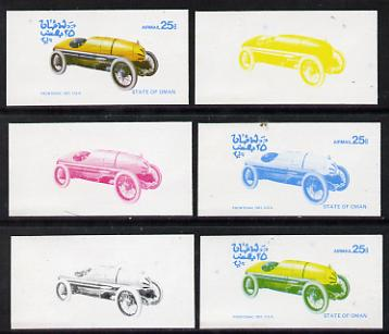 Oman 1976 Vintage Cars #1 25b (Frontenac 1921) set of 6 imperf progressive colour proofs comprising the 4 individual colours plus 2 and all 4-colour composites unmounted mint