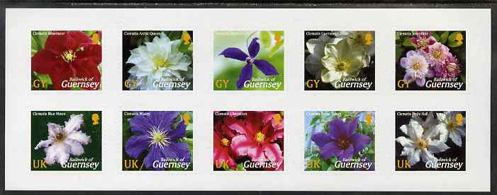 Guernsey 2004 Raymond Evison's Guernsey Clematis sheet of 10 self-adhesives unmounted mint, SG 1017a