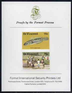 St Vincent 1986 Freshwater Fishing (Tri Tri) 75c imperf se-tenant proof pair mounted on Format International proof card