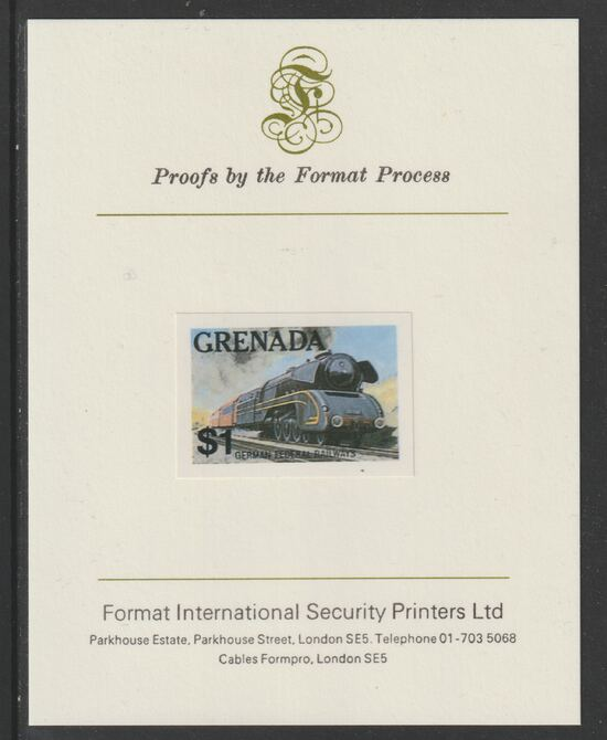 Grenada 1982 Famous Trains $1 German Federal Railway Steam Loco imperf proof mounted on Format International proof card as SG 1216