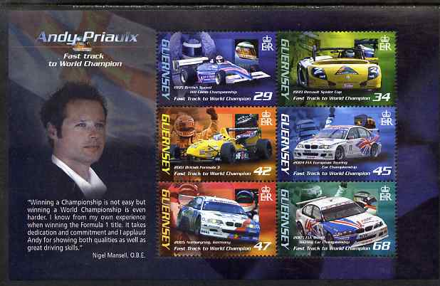 Guernsey 2006 Andy Priaulx's Motor Racing Victories perf m/sheet unmounted mint, SG MS1109