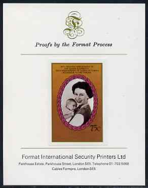 St Vincent - Bequia 1987 Ruby Wedding 75c (Queen & Prince Andrew) imperf proof mounted on Format International proof card