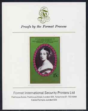 St Vincent - Bequia 1987 Ruby Wedding 15c (young Queen Victoria) imperf proof mounted on Format International proof card