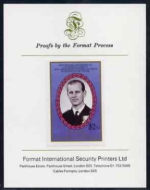 St Vincent - Bequia 1987 Ruby Wedding $2.50 (Duke of Edinburgh) imperf proof mounted on Format International proof card