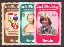 Tuvalu 1982 Princess Di's 21st Birthday set of 3 unmounted mint, SG 184-86