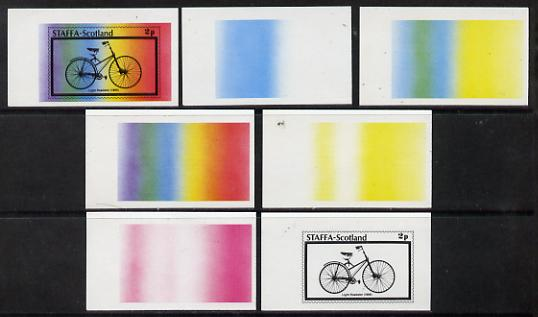 Staffa 1977 Bicycles 2p (Light Roadster 1889) set of 7 imperf progressive colour proofs comprising the 4 individual colours plus 2, 3 and all 4-colour composites unmounte...