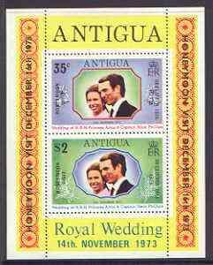 Antigua 1973 Royal Wedding m/sheet opt