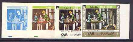 Yemen - Republic 1969 International Labour Organisation 1b Masons (from Litomerice Bible of 1411) set of 5 imperf progressive proofs comprising single, 2, 3, 4 and all 5-colour combinations unmounted mint