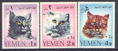 Yemen - Royalist 1967 Surcharges set of 3 Cats unmounted mint, SG R269-71