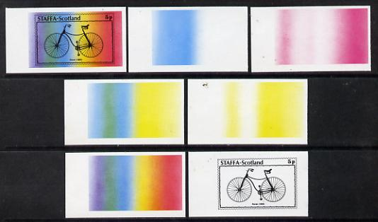 Staffa 1977 Bicycles 5p (Rover 1885) set of 7 imperf progressive colour proofs comprising the 4 individual colours plus 2, 3 and all 4-colour composites unmounted mint