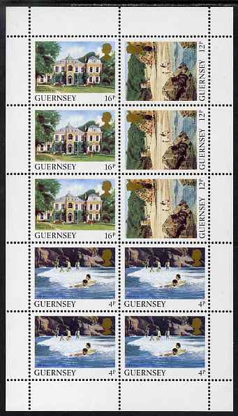 Guernsey 1984-91 Booklet pane of 10 (4 x 4p, 3 x 12p, 3 x 16p) from Bailiwick Views def set unmounted mint, SG 299c