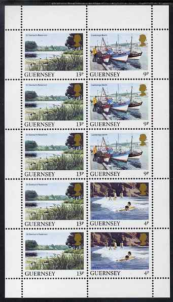 Guernsey 1984-91 Booklet pane of 10 (2 x 4p, 3 x 9p, 5 x 13p) from Bailiwick Views def set unmounted mint, SG 299a