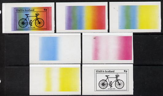 Staffa 1977 Bicycles 6p (Ten Speed 1960) set of 7 imperf progressive colour proofs comprising the 4 individual colours plus 2, 3 and all 4-colour composites unmounted min...
