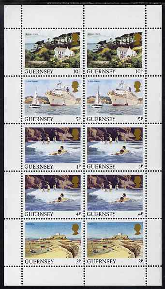Guernsey 1984-91 Booklet pane of 10 (2 x 2p, 4 x 4p, 2 x 5p, 2 x 10p) from Bailiwick Views def set unmounted mint, SG 297a