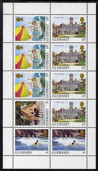 Guernsey 1984-91 Booklet pane of 10 (1 x 3p, 2 x 4p, 4 x 11p, 3 x 15p) from Bailiwick Views def set unmounted mint, SG 298a