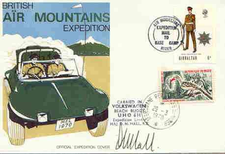 Niger Republic 1970 British Forces Air Mountain Expedition cover, with special 'Carried by Volkswagen Beach Buggy' cachet and signed by Expedition leader, stamps on militaria, stamps on mountains, stamps on  vw , stamps on cars