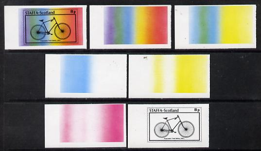 Staffa 1977 Bicycles 8p (Pneumatic Tired Safety 1891) set of 7 imperf progressive colour proofs comprising the 4 individual colours plus 2, 3 and all 4-colour composites ...