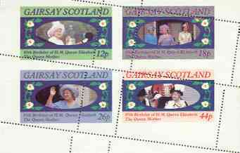 Gairsay 1985 Life & Times of HM Queen Mother perf sheetlet of 4 with perforations dramatically misplaced unmounted mint
