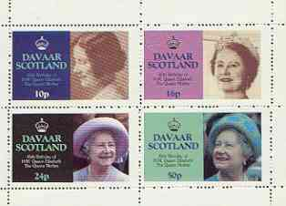Davaar Island 1985 Life & Times of HM Queen Mother perf sheetlet of 4 values (10p, 16p, 24p & 50p) unmounted mint