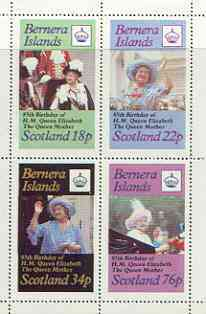 Bernera 1985 Life & Times of HM Queen Mother perf sheetlet of 4 values (18p, 22p, 34p & 76p) unmounted mint
