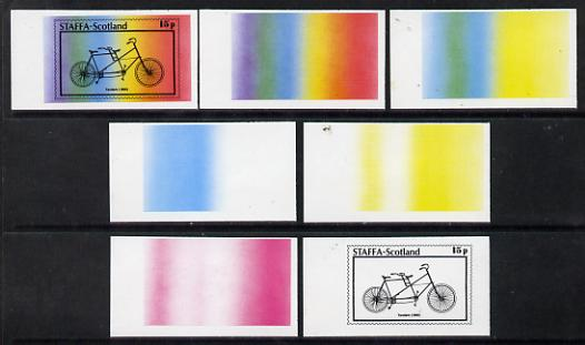 Staffa 1977 Bicycles 15p (Tandem 1890) set of 7 imperf progressive colour proofs comprising the 4 individual colours plus 2, 3 and all 4-colour composites unmounted mint