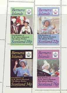 Bernera 1985 Life & Times of HM Queen Mother perf sheetlet of 4 with perforations dramatically misplaced unmounted mint