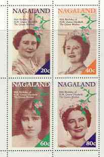 Nagaland 1985 Life & Times of HM Queen Mother perf sheetlet of 4 values (20c, 40c, 60c & 80c) unmounted mint