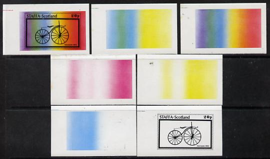 Staffa 1977 Bicycles 20p (Velocipede 1863) set of 7 imperf progressive colour proofs comprising the 4 individual colours plus 2, 3 and all 4-colour composites unmounted m...