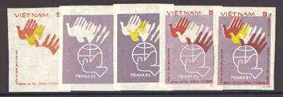 Vietnam 1983 World Peace Conference 5d set of 5 imperf progressive proofs comprising individual colour plus 3 x 2-colour and all 3-colour composites, as SG 655, stamps on peace, stamps on dove, stamps on birds