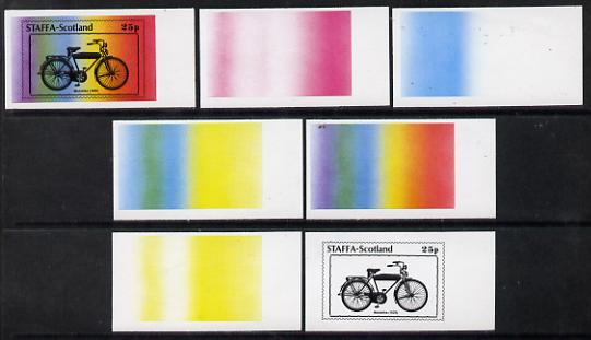 Staffa 1977 Bicycles 25p (Motobike 1935) set of 7 imperf progressive colour proofs comprising the 4 individual colours plus 2, 3 and all 4-colour composites unmounted mint