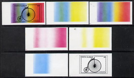 Staffa 1977 Bicycles \A31 (Columbia 1878) set of 7 imperf progressive colour proofs comprising the 4 individual colours plus 2, 3 and all 4-colour composites unmounted mint