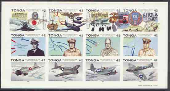 Tonga 1992 50th Anniversary of Outbreak of Pacific War imperf sheet in issued colours on thin card, from a limited printing for publicity purposes, (as SG 1165a)
