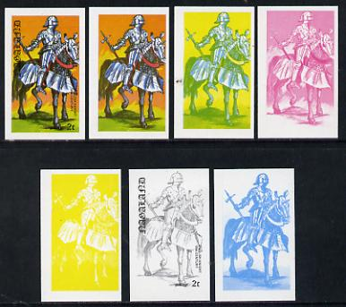 Nagaland 1977 Military Uniforms 2c (English Knight 15th Century) set of 7 imperf progressive colour proofs comprising the 4 individual colours plus 2, 3 and all 4-colour composites unmounted mint