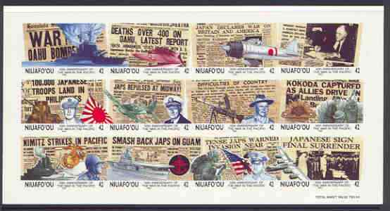 Tonga - Niuafo'ou 1992 50th Anniversary of Outbreak of Pacific War imperf sheet in issued colours on thin card, from a limited printing for publicity purposes, (as SG 165a), stamps on cinderellas, stamps on cinderella, stamps on ships, stamps on ww2, stamps on aviation, stamps on militaria, stamps on maps, stamps on flat tops, stamps on  ww2 , stamps on
