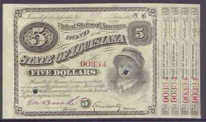 Cinderella - United States 1875 State of Louisiana $5 bond showing a fine vignette of a child