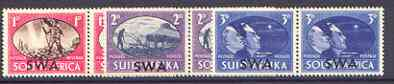 South West Africa 1945 Victory Commemoration set of 3 horiz pairs unmounted mint, SG 131-33