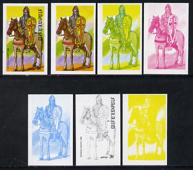 Nagaland 1977 Military Uniforms 3c (Norman Knight 1066) set of 7 imperf progressive colour proofs comprising the 4 individual colours plus 2, 3 and all 4-colour composites unmounted mint