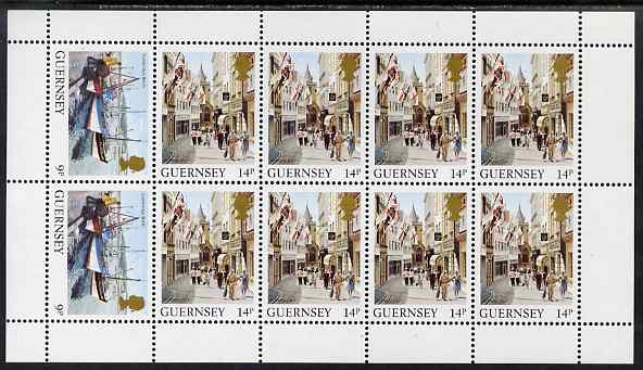 Guernsey 1984-91 Booklet pane of 10 (2 x 9p, 8 x 14p) from Bailiwick Views def set unmounted mint, SG 304b