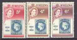 St Helena 1956 Stamp Centenary set of 3 unmounted mint, SG 166-68