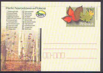 Poland 2000 National Parks 70gr p/stationery postcard unused and pristine