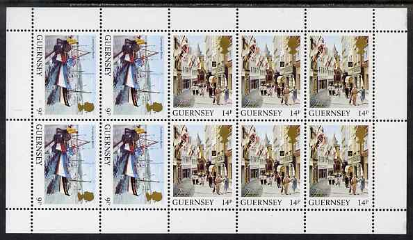 Guernsey 1984-91 Booklet pane of 10 (4x 9p, 6 x 14p) from Bailiwick Views def set unmounted mint, SG 304a
