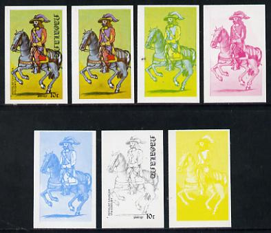 Nagaland 1977 Military Uniforms 10c (Royalist Cavalier 17th Century) set of 7 imperf progressive colour proofs comprising the 4 individual colours plus 2, 3 and all 4-colour composites unmounted mint