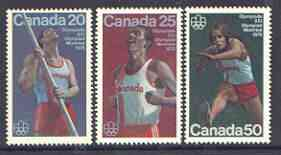Canada 1975 Montreal Olympic Games (7th issue) set of 3, SG 809-11