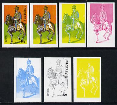 Nagaland 1977 Military Uniforms 30c (7th Hussars 19th Century) set of 7 imperf progressive colour proofs comprising the 4 individual colours plus 2, 3 and all 4-colour composites unmounted mint