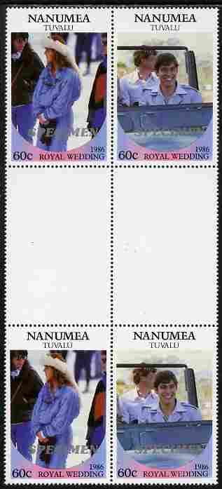 Tuvalu - Nanumea 1986 Royal Wedding (Andrew & Fergie) 60c perf inter-paneau gutter block of 4 (2 se-tenant pairs) overprinted SPECIMEN in silver (Italic caps 26.5 x 3 mm) unmounted mint from Printer's uncut proof sheet