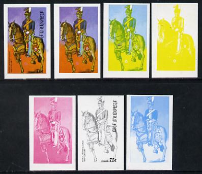 Nagaland 1977 Military Uniforms 75c (Royal Horseguards 19th Century) set of 7 imperf progressive colour proofs comprising the 4 individual colours plus 2, 3 and all 4-colour composites unmounted mint, stamps on militaria, stamps on uniforms, stamps on horses