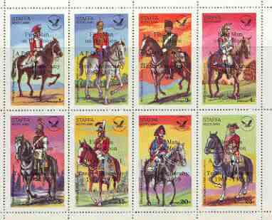Staffa 1979 USA Bicentenary (Military Uniforms - On Horseback) perf sheetlet of 8 values opt'd Apollo 11 - 10th Anniversary in black unmounted mint