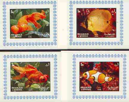 Sharjah 1972 Fish #2 set of 4 individual imperf deluxe sheetlets unmounted mint, as Mi 1200-03