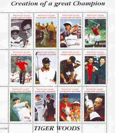 Westpoint Island (Falkland Islands) 2000 Tiger Woods (Creation of a Great Champion) perf sheetlet containing complete set of 12 values (face value \A38) unmounted mint